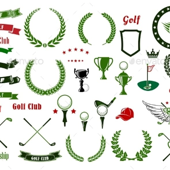 Golf And Golfing Sport Elements Or Items