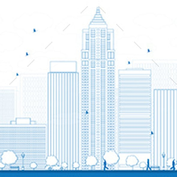 Outline Seattle City Skyline with Blue Buildings
