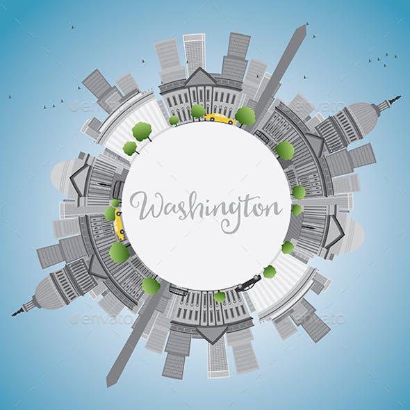 Washington DC City Skyline with Gray Landmarks