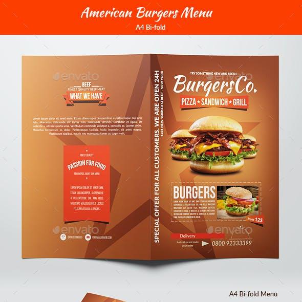 American Burgers Menu