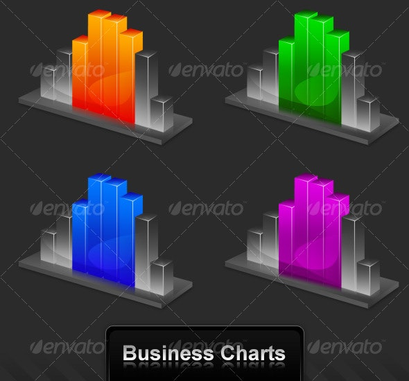 Perspective Business Charts - Decorative Symbols Decorative