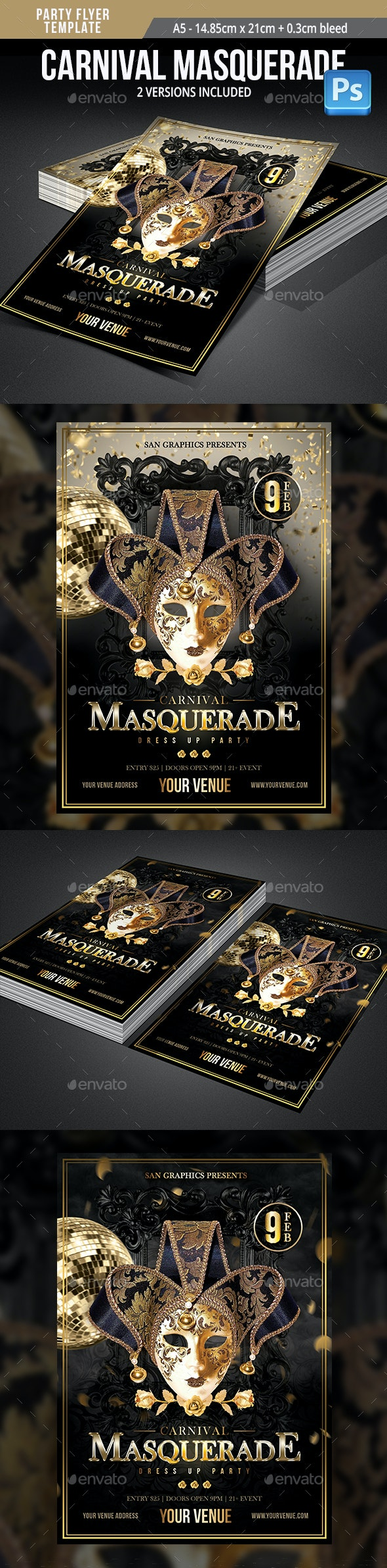 Carnival Masquerade Dress Up Party Flyer Template - Flyers Print Templates