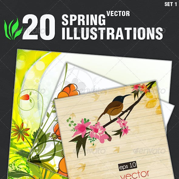 20 Vector Spring Illustrations