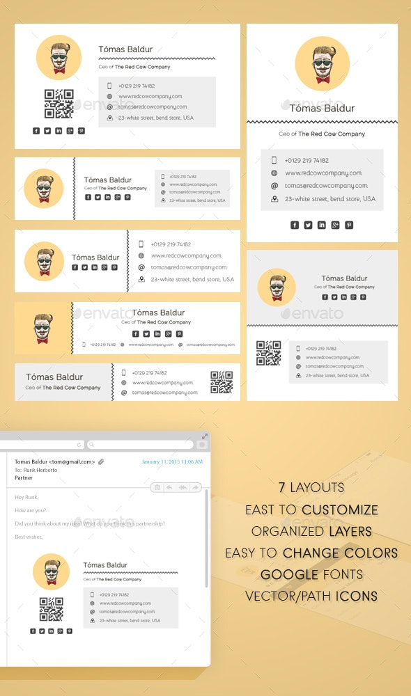 Modern Easy Email Signature - Web Elements