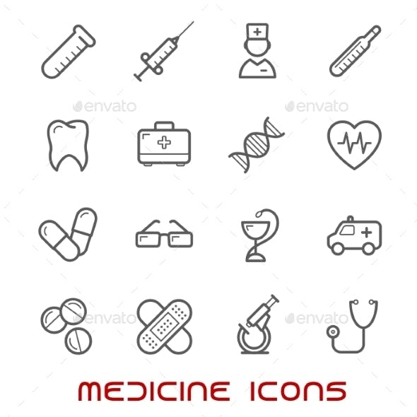 Medicine And Health Thin Line Icons Set