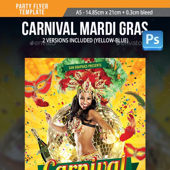 Carnival Mardi Gras Party Flyer Template