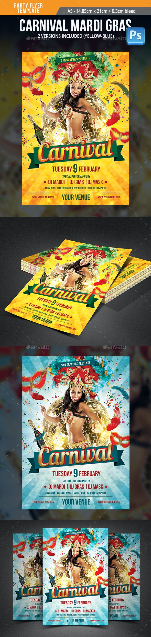 Carnival Mardi Gras Party Flyer Template - Clubs & Parties Events