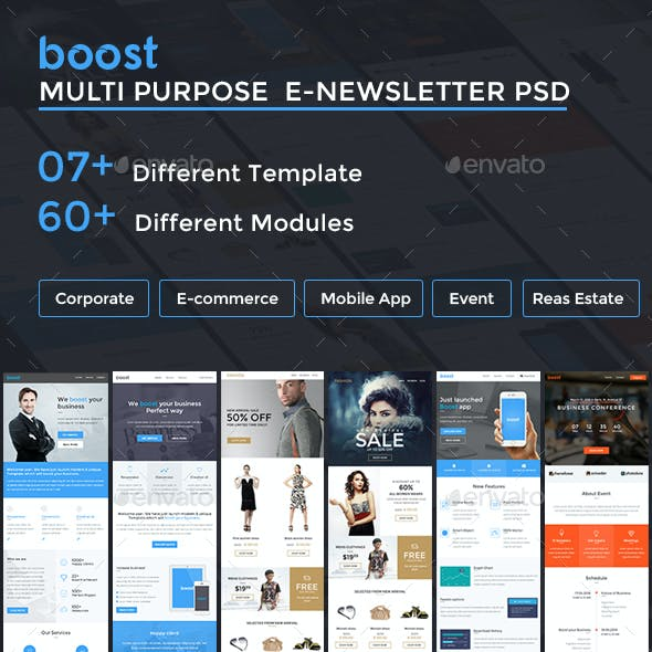 Multi Purpose E-Newsletter PSD Template - Boost