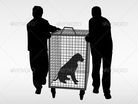 The dog catchers and the stray abandoned dog - Animals Characters
