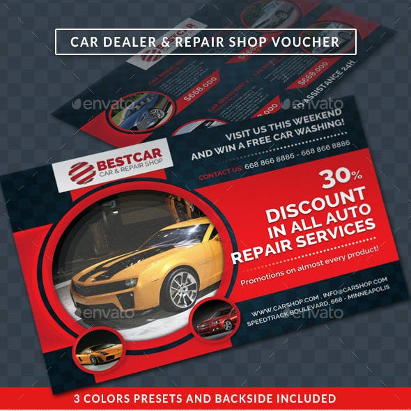 Car Dealer & Auto Services Commerce Discount Voucher