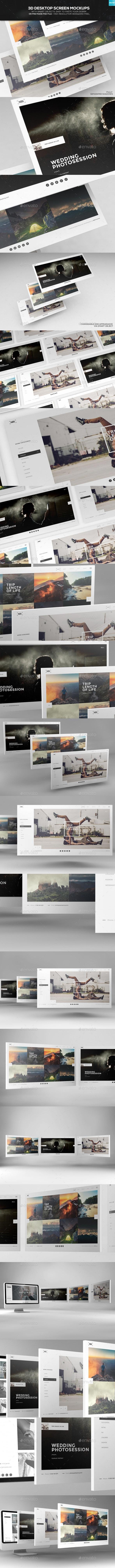3D Desktop Screen Mockups - Website Displays