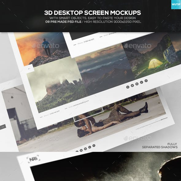 3D Desktop Screen Mockups