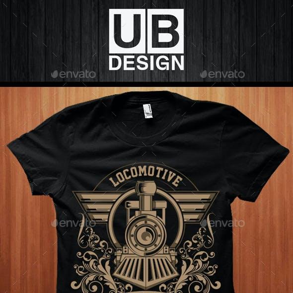 Locomotive Illustration T-Shirt