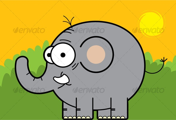 Cute Elephant in the Afternoon - Animals Characters