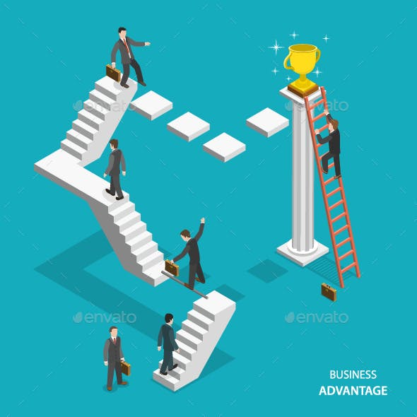 Business Advantage Isometric Flat Vector Concept