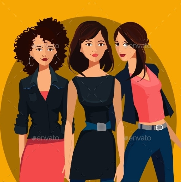 Three Young Women - People Characters