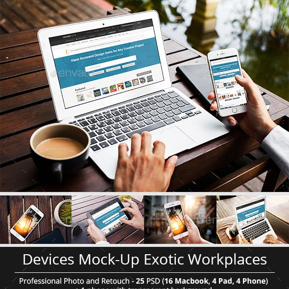 MacBook and Other Devices Mock-Up Different Workplaces
