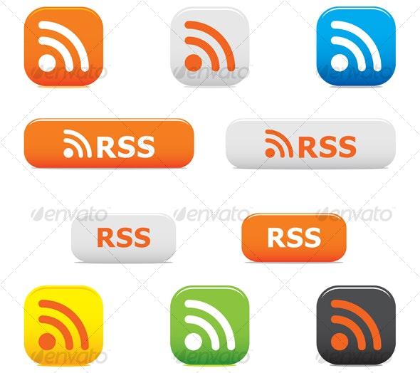 Rss buttons and symbols - Decorative Vectors