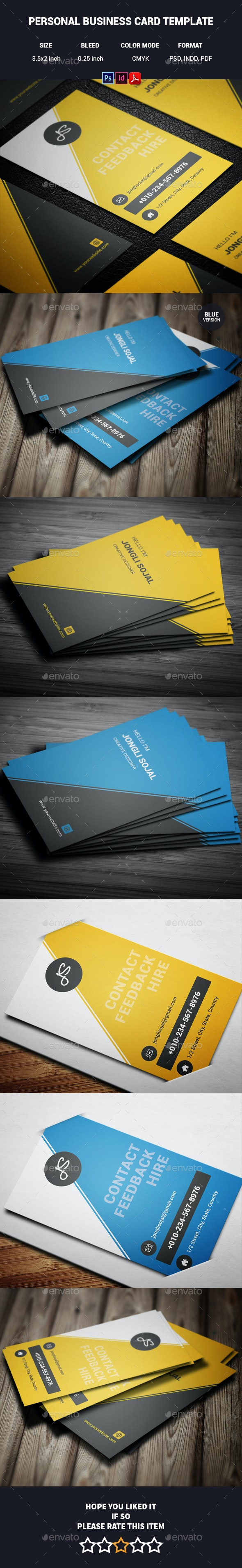 Personal Business Card Template - Creative Business Cards