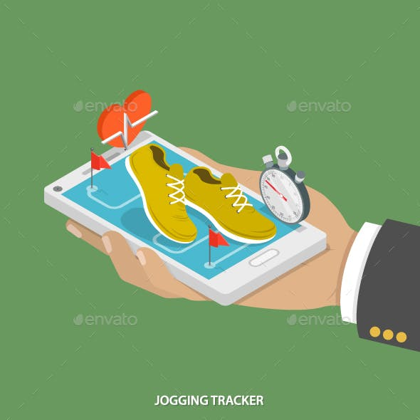Jogging Tracker Flat Isometric Concept.