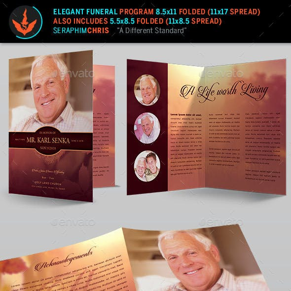 Elegant Funeral Program: Bi-Fold Template