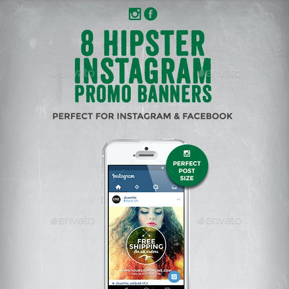 8 Hipster Instagram Promotional Banners