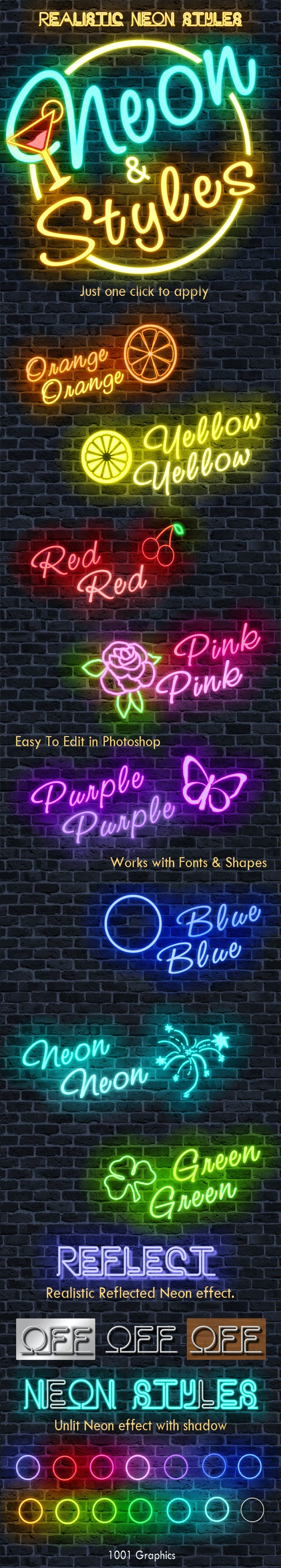 50 Realistic Neon Text Styles - Photoshop Add-ons