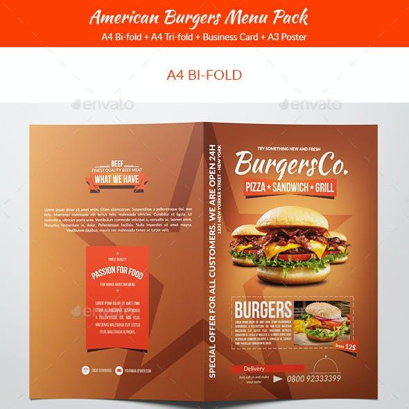 American Burgers Food Menu Pack