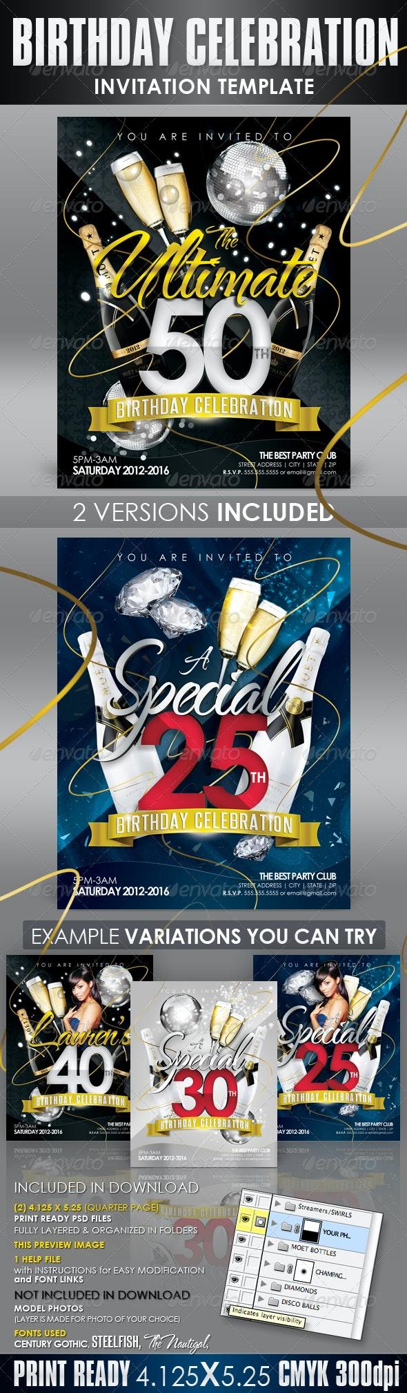 Birthday Invitation Templates - Club Flyer Style - Invitations Cards & Invites