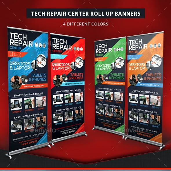Tech Repair Center Roll Up Banners