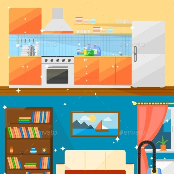Cleaning Home Vector Illustration.