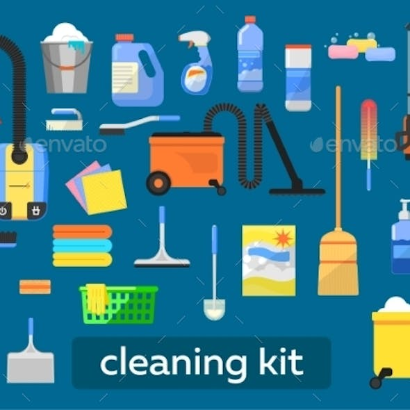 Vector Set Of Cleaning Tools.