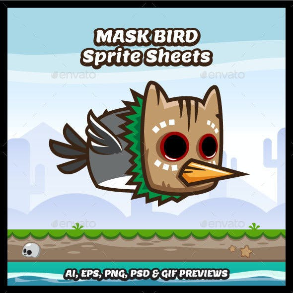 Mask Bird Game Character Sprite Sheets