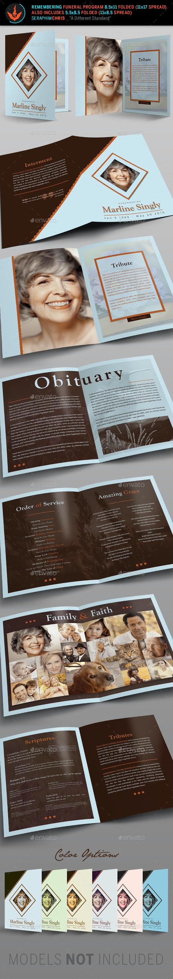 Remembering Funeral Program: Bi-Fold Template - Informational Brochures