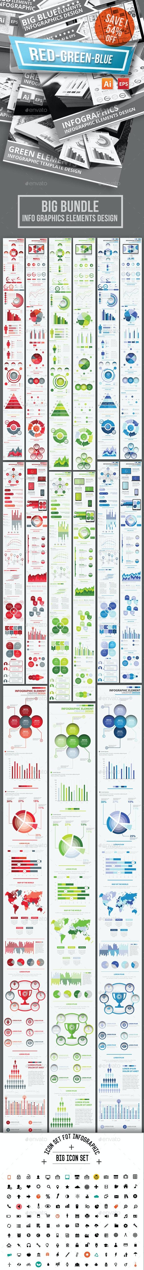 Bundle Red Green Blue Infographics Design - Infographics