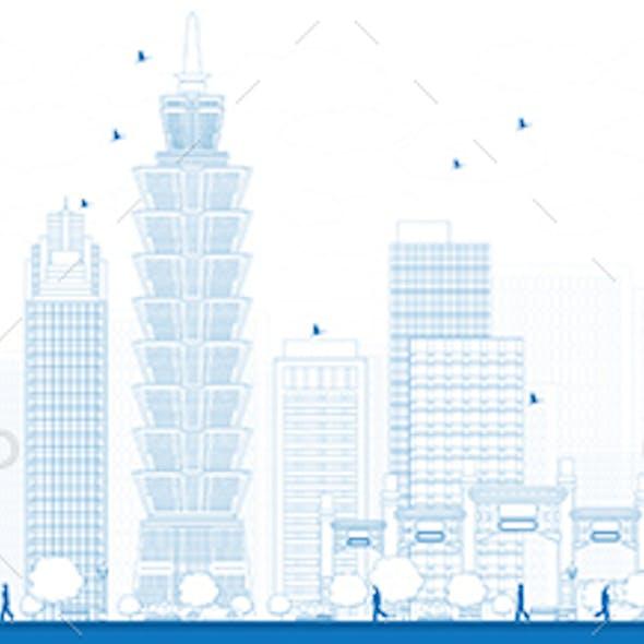 Outline Taipei Skyline with Blue Landmarks.