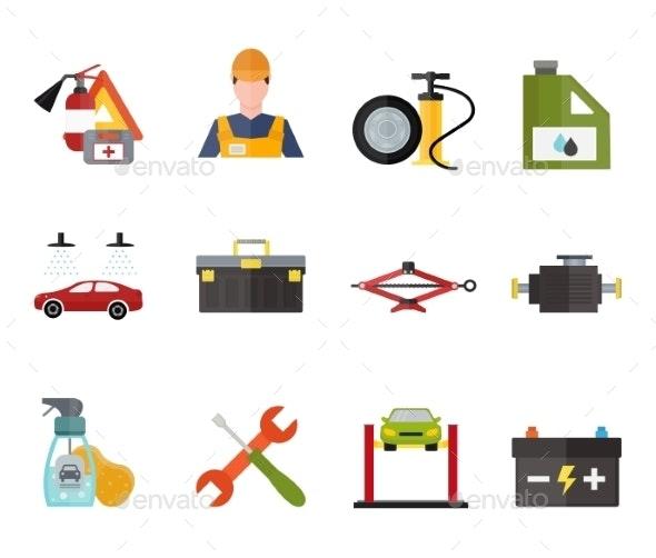 Car Service Repair Vector Icons Set