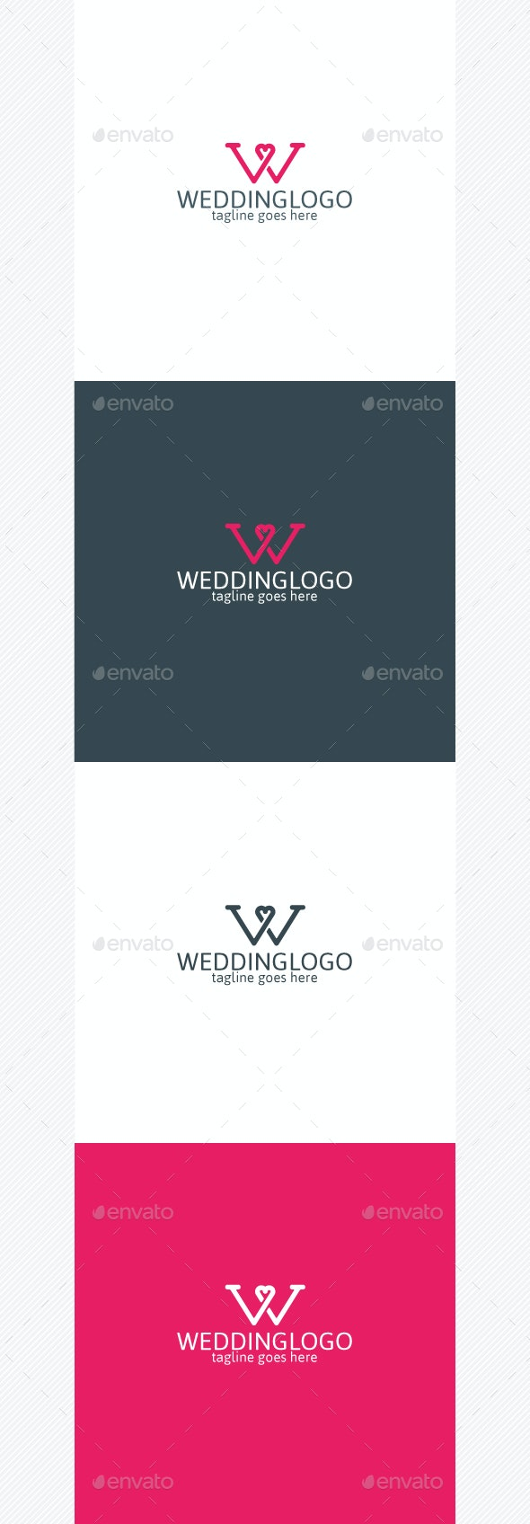 Wedding Logo • Letter W • Heart Logo - Letters Logo Templates