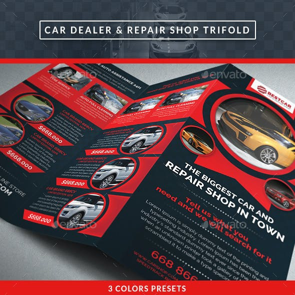 Car Dealer & Auto Services Trifold Brochure