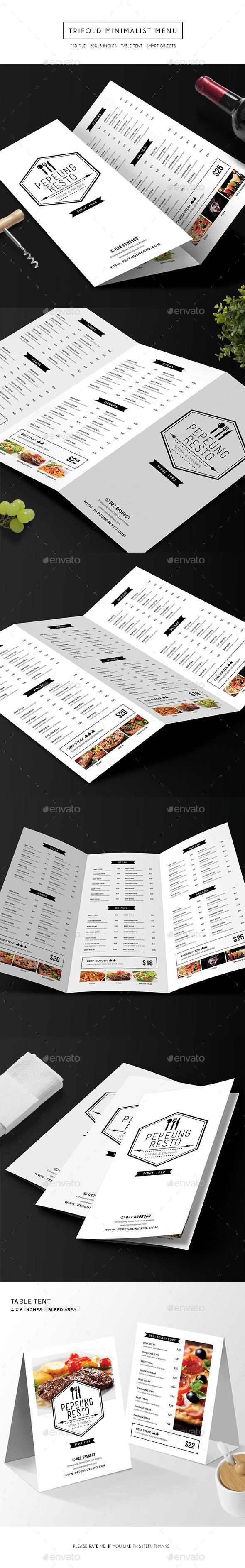 Trifold Minimalist Menu - Food Menus Print Templates
