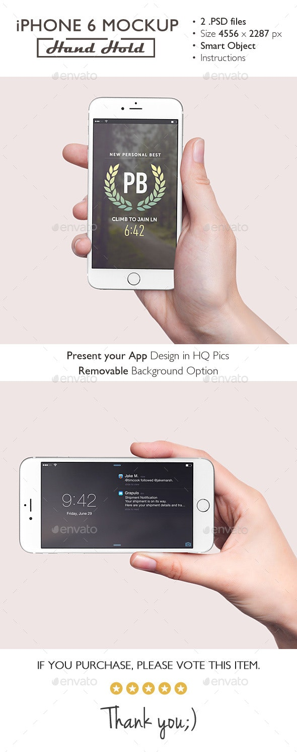 iPhone 6 Mockup Hand Hold - Product Mock-Ups Graphics
