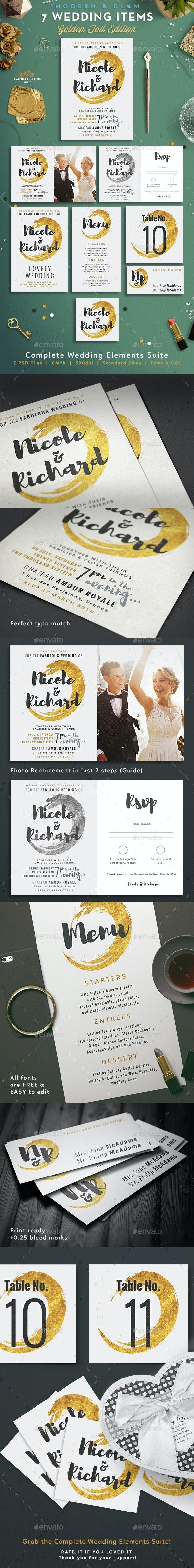 7 Golden Foil Items - Wedding Pack - Weddings Cards & Invites