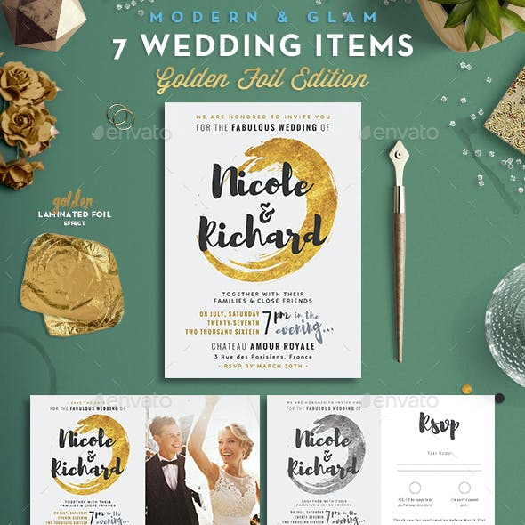 7 Golden Foil Items - Wedding Pack