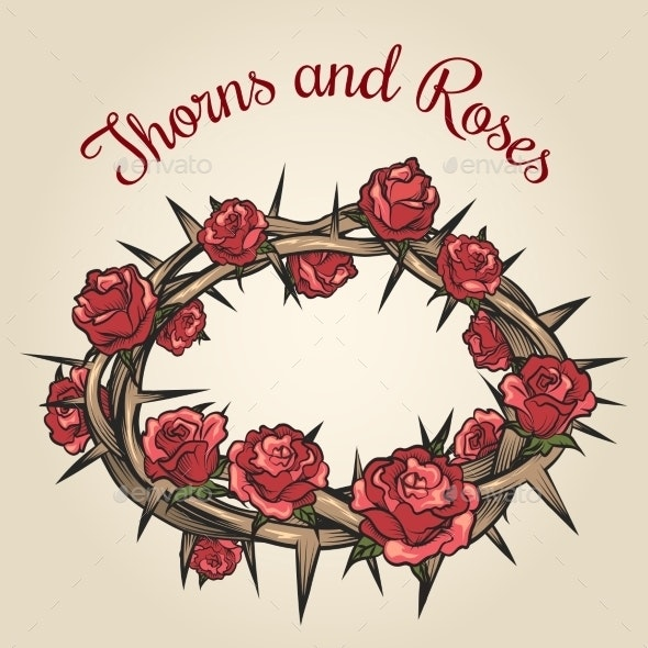 Thorns And Roses Engraving Emblem