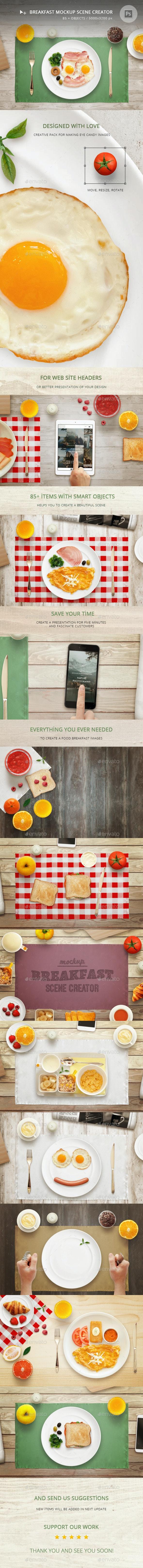 Breakfast Mockup Scene Creator - Hero Images Graphics