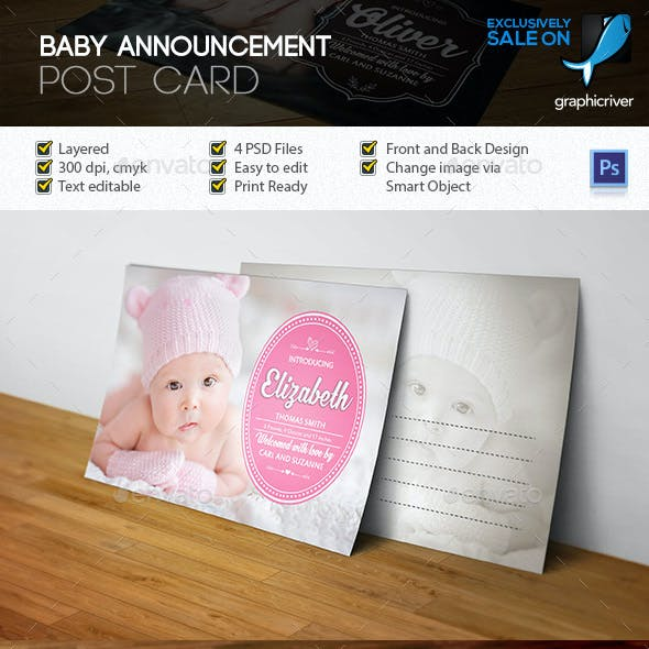 Baby Announcement Post Card