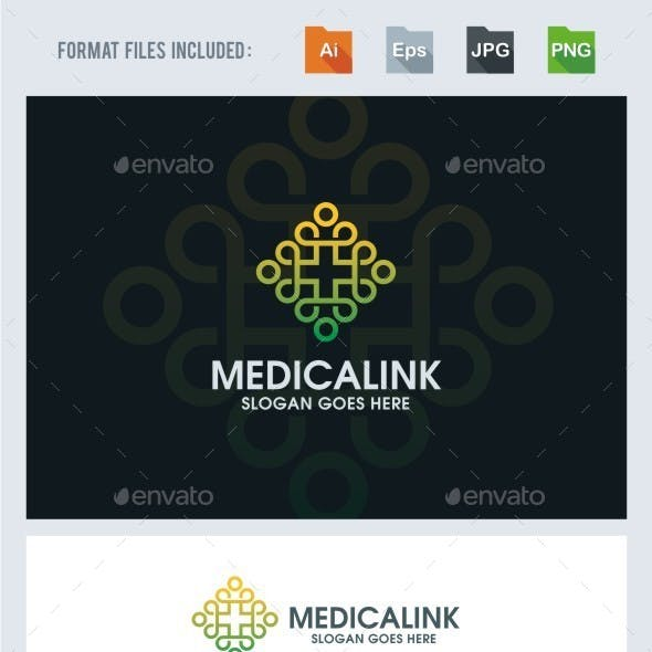 Medical Cross - Linked People Logo Template