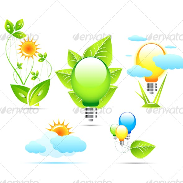 Electricity and environment. Icons