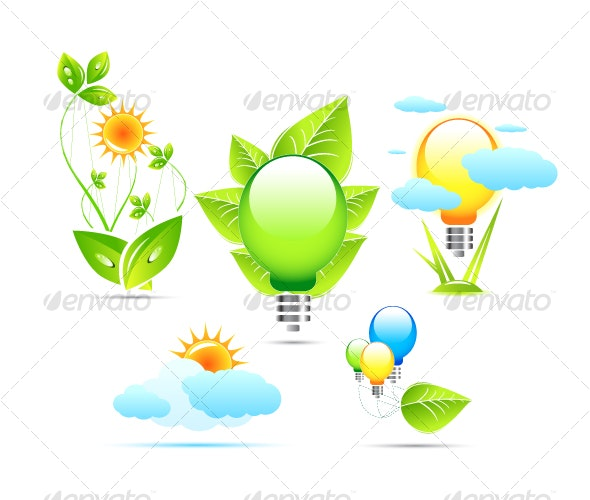 Electricity and environment. Icons - Seasonal Icons