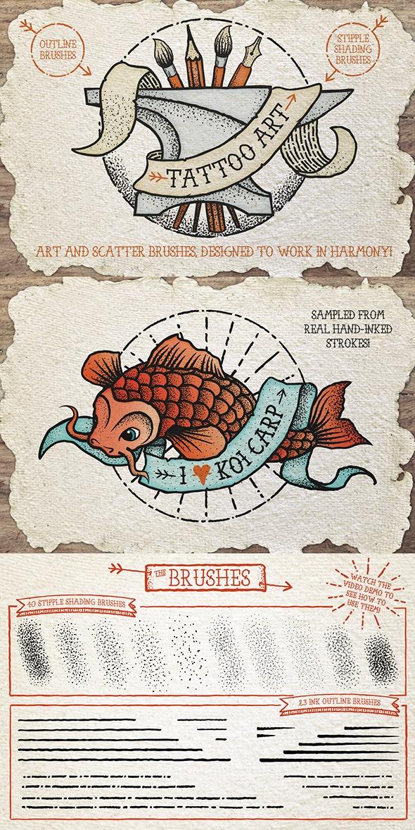 Tattoo Style Art Brushes - Brushes Illustrator